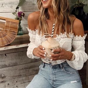 Tops - Off Shoulder Lace Crochet Long Sleeve Blouse